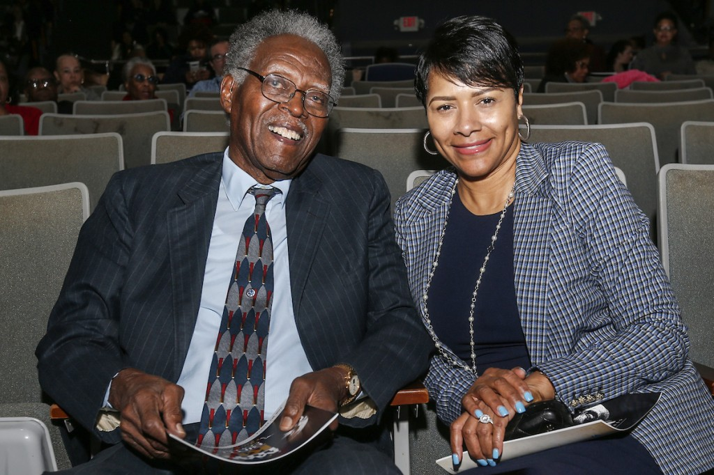 President Emeritus John A. Peoples Jr. and JSU first lady Deborah E. Bynum prepare for the start of the MLK Convocation held annually by the Margaret Walker Center. (Photo by Charles A. Smith/JSU)