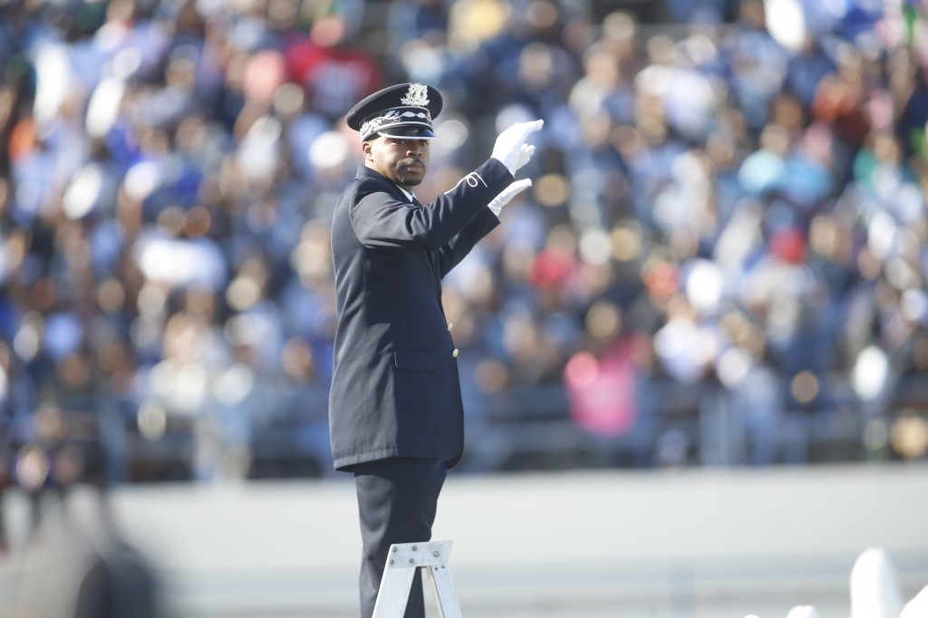 Dr. Roderick Little received his first taste of band directing as a 16-year-old student at Lanier High School. Now 36, Little is one of the youngest band directors at Jackson State University, but he is not lacking in experience. (Photo by Charles A. Smith)