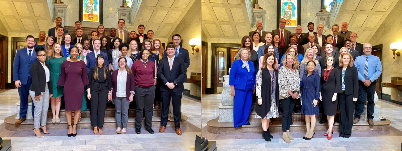 HEADWAE 2020 student honorees (left) and faculty honorees (right) gather on the steps in the Capitol Rotunda for a photo after the  program held at the State Capitol. (Photos by Sophie McNeil Wolf, Institutions of Higher Learning)