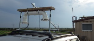A U-shaped apparatus atop a JSU vehicle is used for measuring atmospheric pressure.