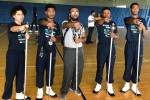 Meda poses with the 2020-2021 J5 drum majors consisting of (left to right) Gemal Duncan, Nathanial Kenner, Xavian Mitchell and Gregory Turner. (Photo special to JSU)