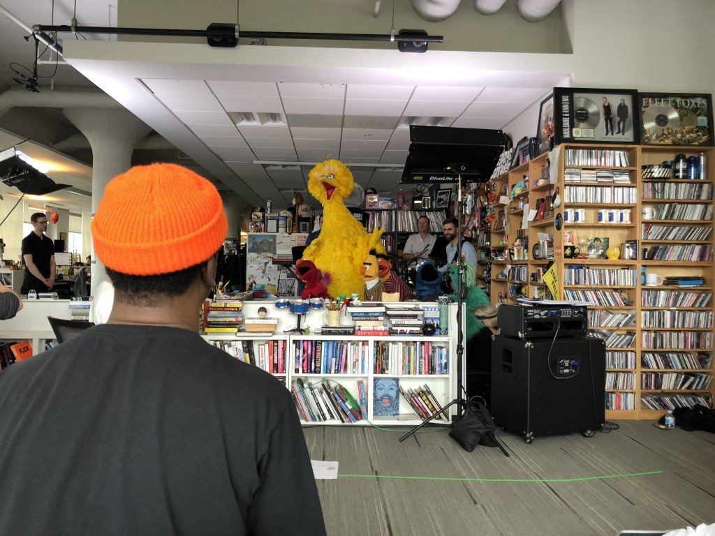 A back view of Robert Carter producing the Sesame Street Tiny Desk concert. Carter describes the session as his ultimate fan moment. (Photo special to JSU)