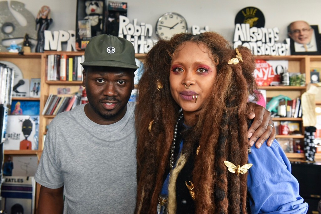"Robert Carter, JSU alum and producer for Tiny Desk, poses with Erykah Badu after her Tiny Desk concert. Badu has been coined the ""Godmother of Soul"" by The New Yorker. (Photo special to JSU)"