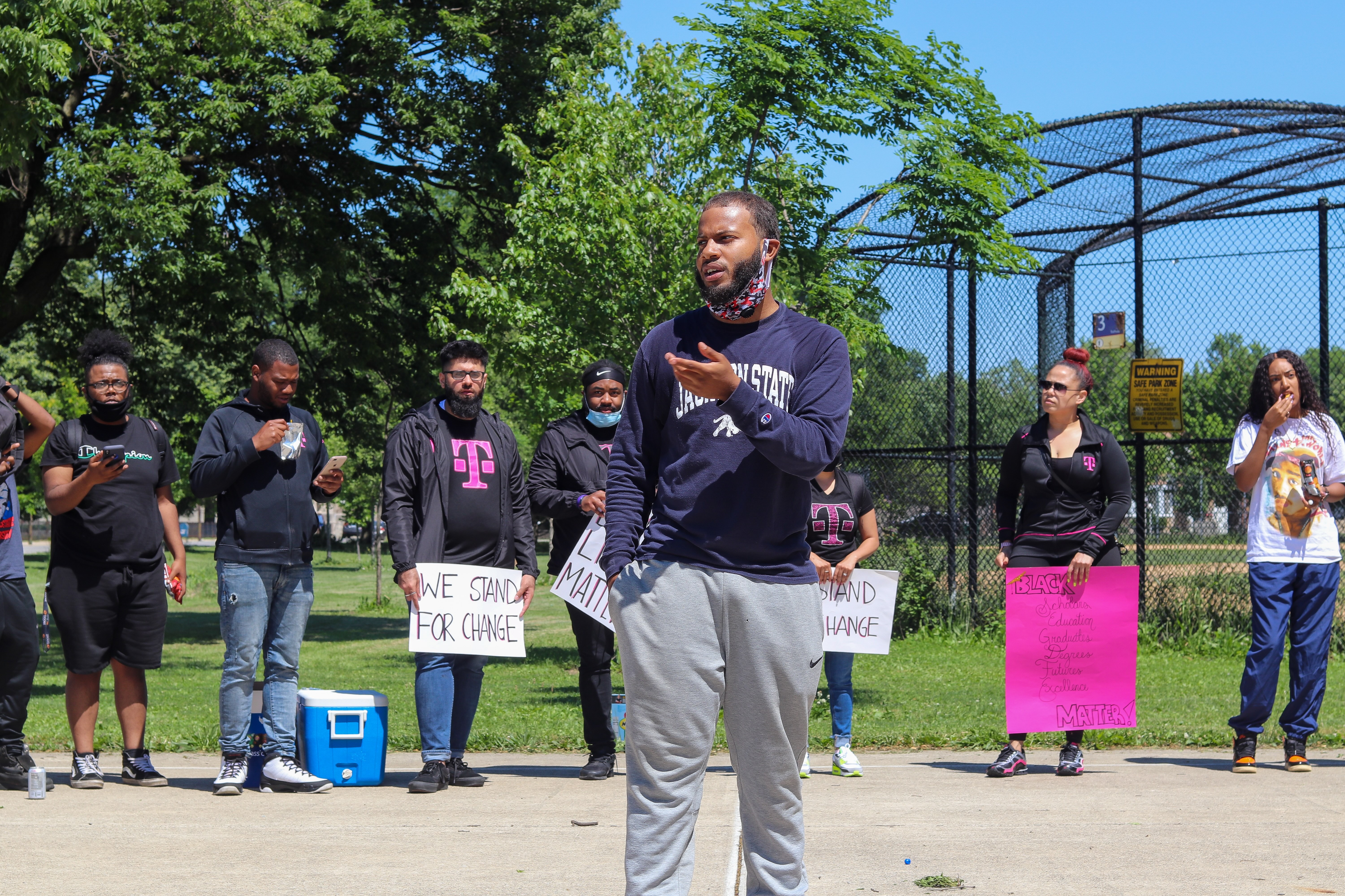 "Michael Taylor, theatre major at JSU, thanks protestors for their participation in the Chicago march he organized to combat racial bias.""I just shared my appreciation for everyone coming. I talked about the importance of what we were doing, why we were doing it and how we could move forward. I wasn't prepared to speak, but everything I said came from the heart.""  (Photo by Wakil Atig)"
