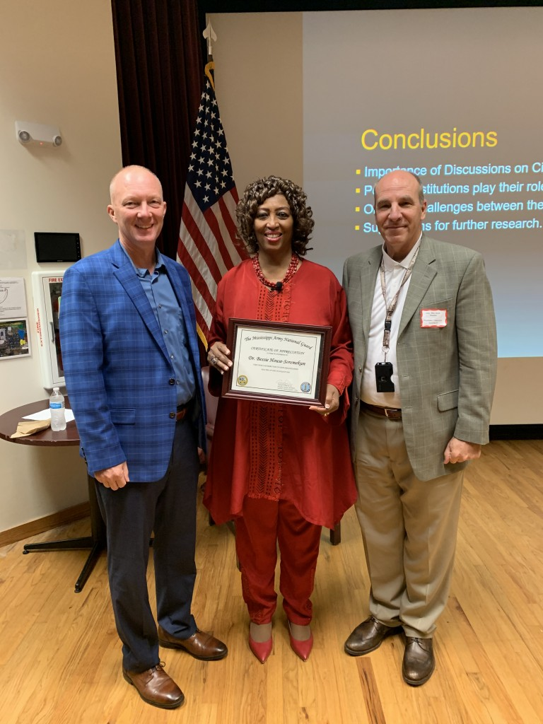 Dr. Bessie House-Soremekum receives a certificate of appreciation for her participation with the Mississippi National Guards continuing education program. (Photo special to JSU)