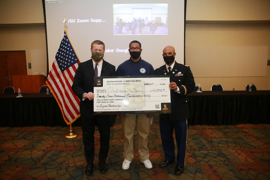 A cadet is awarded more than $44,000 as part of a three-year scholarship. (Photo by William H. Kelly III/JSU University Communications)