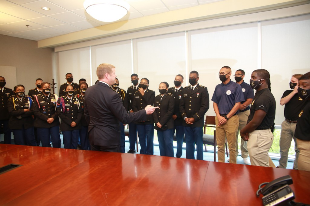 McCarthy greets future leaders who are destined to serve the country. (Photo by Charles A. Smith/JSU University Communications)