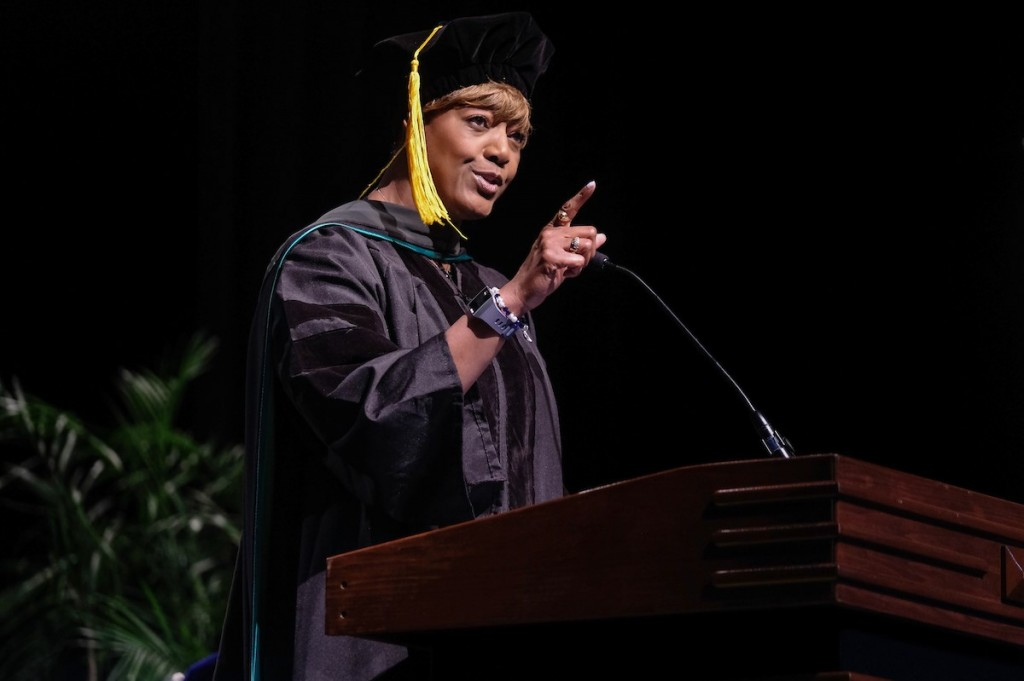 Dr. Earlexia Norwood was in the inaugral class of the DuBois-Harvey Honors College. Last year, Norwood, a licensed physician, served as the Founders' Day keynote at her alma mater.  (Photo by Charles A. Smith/JSU)