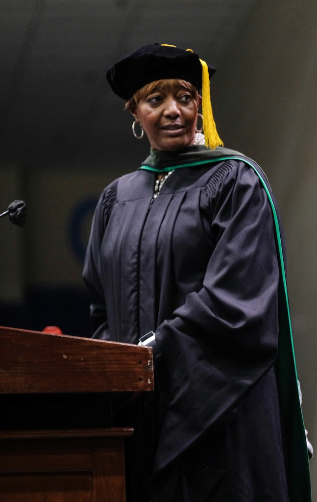 """Dr. Earlexia Norwood, president of the Jackson State University National Alumni Association, said, """"With this degree, you can become and do whatever your mind and heart's intent is to do."""" (Photo by Charles A. Smith/JSU)"""