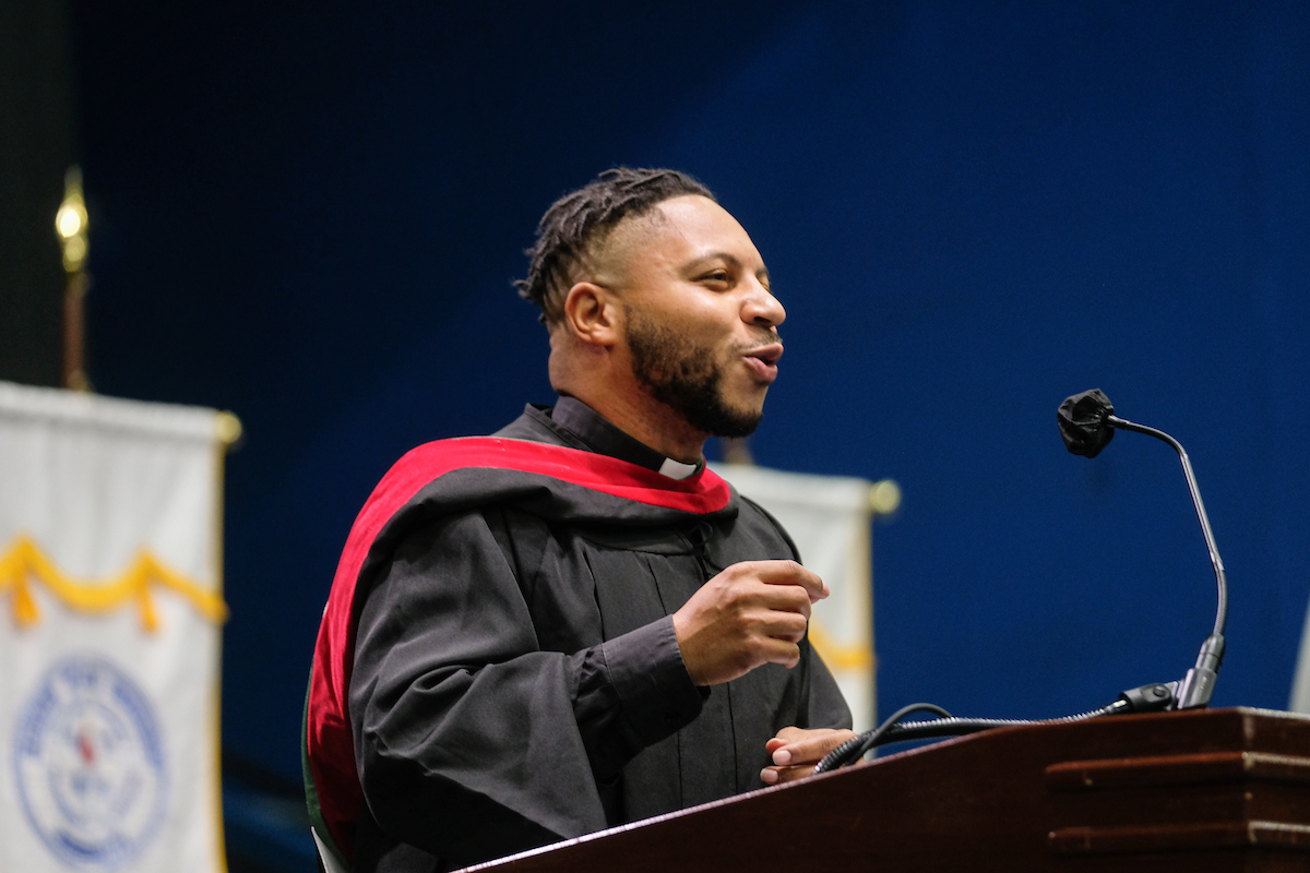 The Rev. Kevin Kosh Jr., director of the JSU Wesley Foundation Campus Ministries, blessed the crowd with inspiring words.(Photo by Charles A. Smith/JSU)