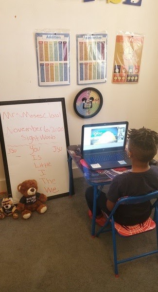 Chase, a Lottie Thornton preschooler, soaks in his virtual lesson. (Photo special to JSU)