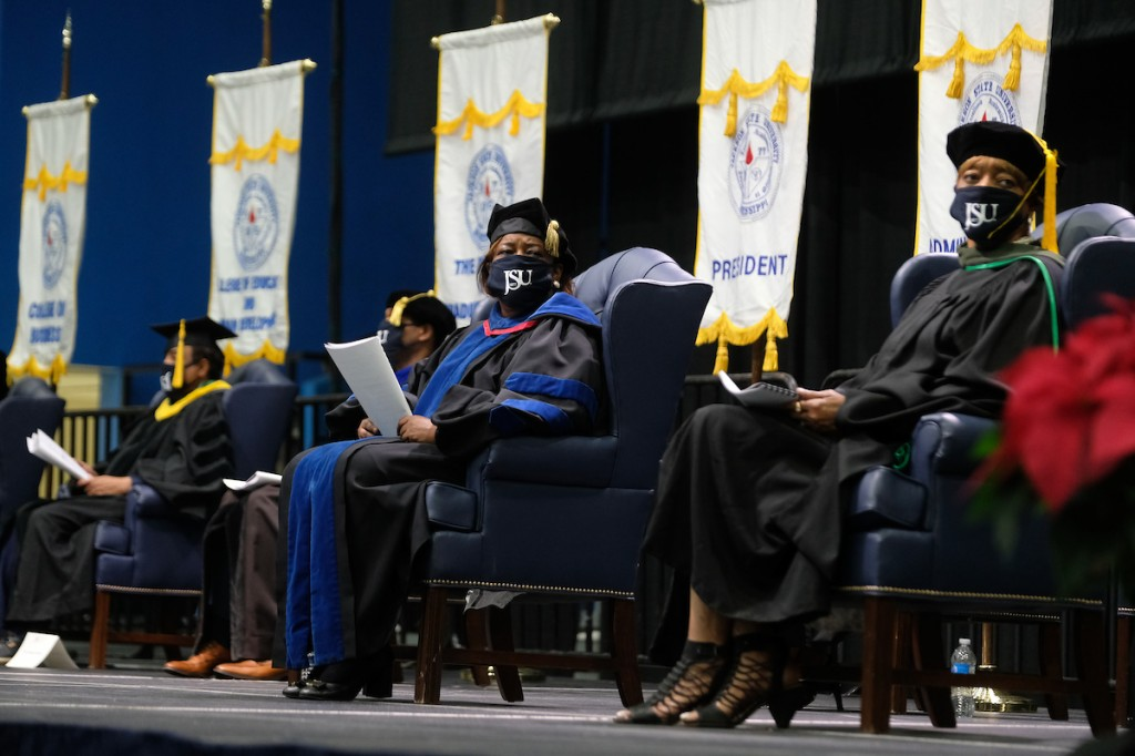 Platform guests assisted with the ceremony as graduates prepared to receive their degrees virtually. (Photo by Charles A. Smith/JSU)