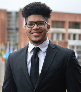 """""""When some of the earlier donations began to arrive, I assisted in distributing out lunch bags with snacks, drinks, and microwaveable food to help our student body,"""" Kijana Roberts, Mister JSU said."""