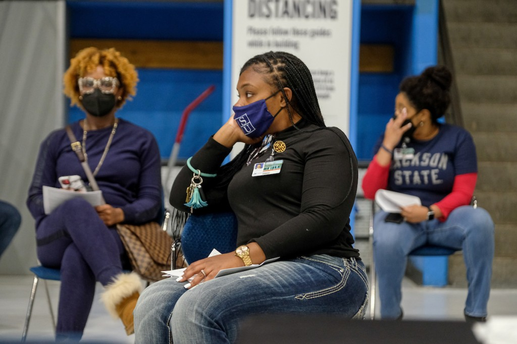 After receiving their vaccination, JSU students wait 15 minutes before being allowed to leave just in case they experience side effects. (Photo by Charles A. Smith/JSU)