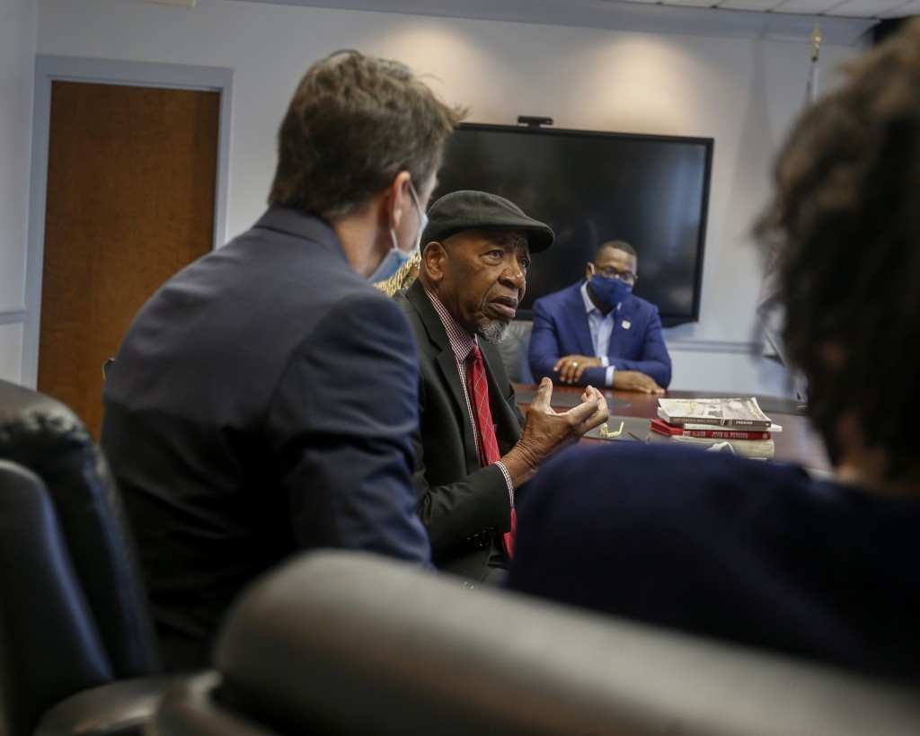 Dr. John M. Perkins, community leader, civil rights activist, and best-selling author, speaks passionately about his life of service, faith, and the importance of giving back. (Photo by Charles A. Smith/JSU)
