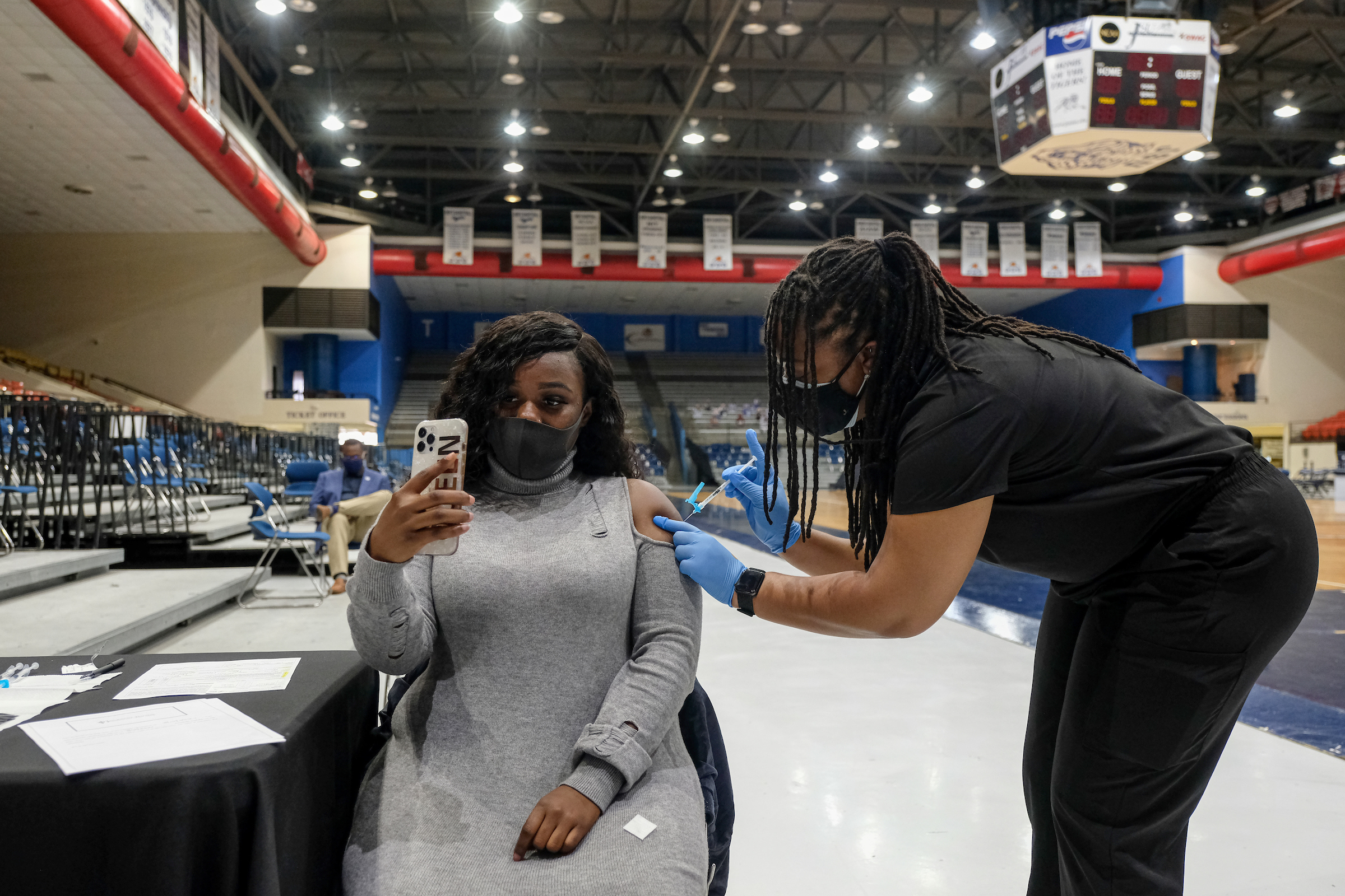 Getting vaccinated is a life-changing moment worthy to be capture -- even with a selfie. (Photo by Charles A. Smith/JSU)