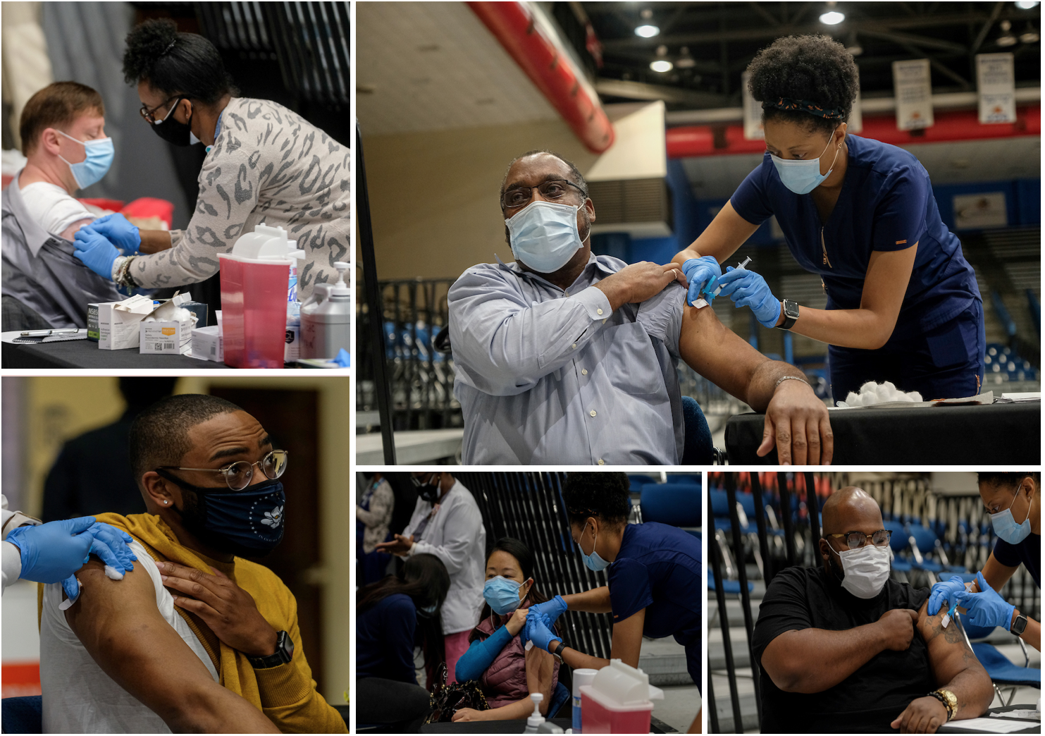 """It's Not Over Yet,"" according to those vaccinated recently. They still plan to wear masks and practice social distancing. (Photos by Charles A. Smith/JSU)"
