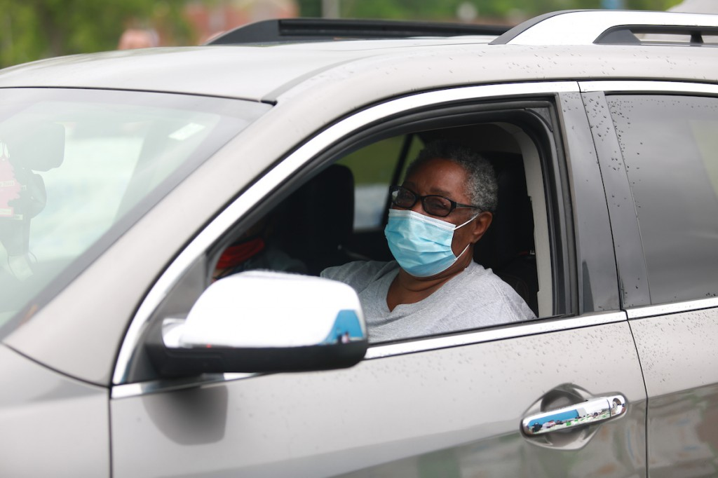 """Bettie Smith of Jackson said, """"I can now have food for my children and grandkids. I am grateful and thankful. The pandemic put a damper on everything because it was a long wait to get food stamps processed. The lines were long and unemployment is still high."""" (Photo by William H. Kelly III/JSU)."""