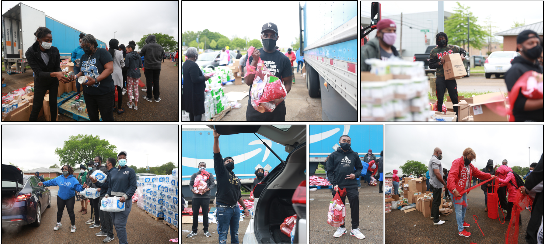 Campus Greek organizations helped to distribute waters and sacks of food. (Photo by William H. Kelly III/JSU)