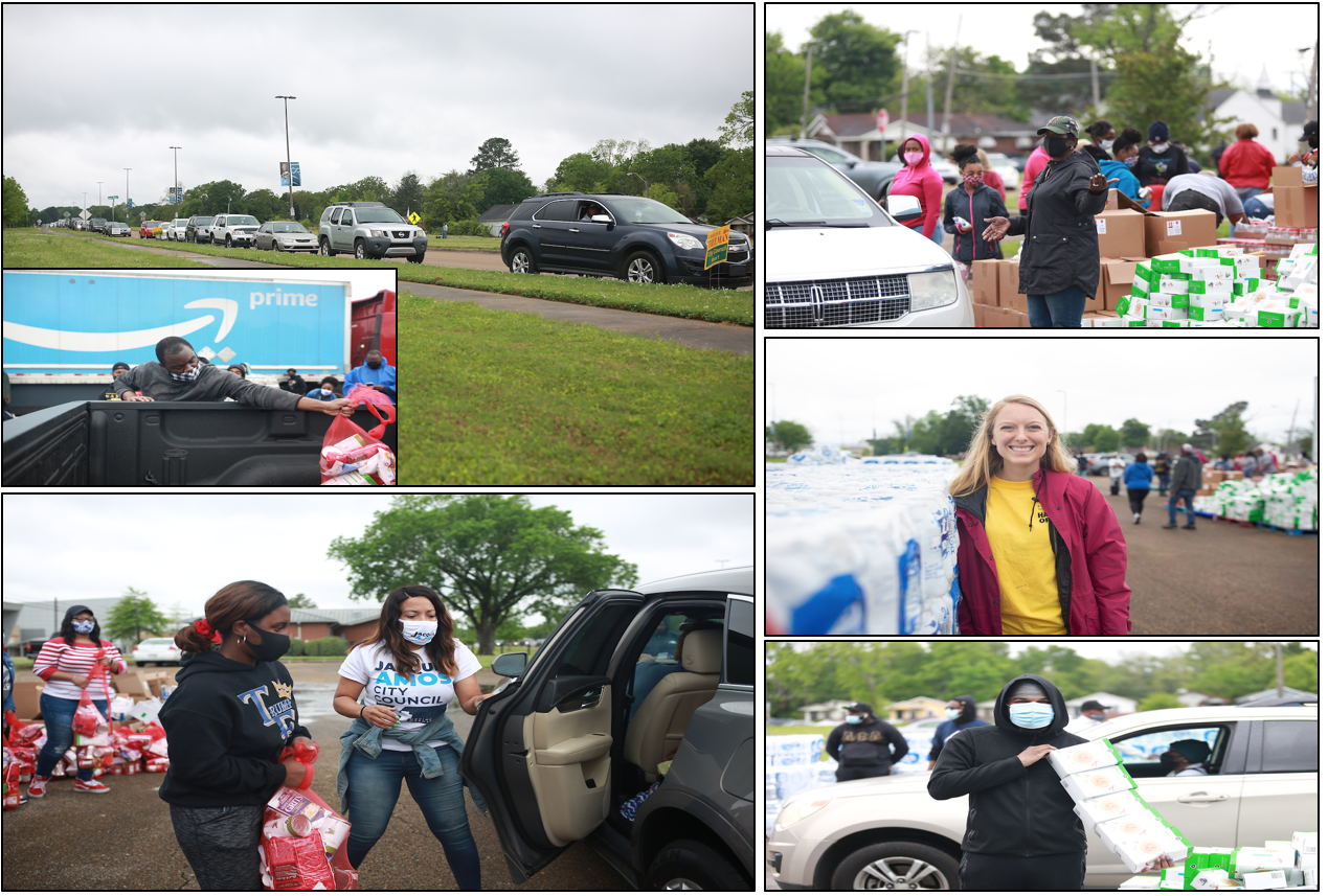 A number of volunteers eagerly assisted with the distribution, especially since Mississippi is considered among the largest food deserts. (Photo by William H. Kelly III/JSU)