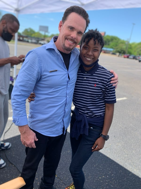 """JSU grad student Chesha Lewis takes a quick pic with actor Kevin Dillon behind the scenes of """"A Day to Die""""."""