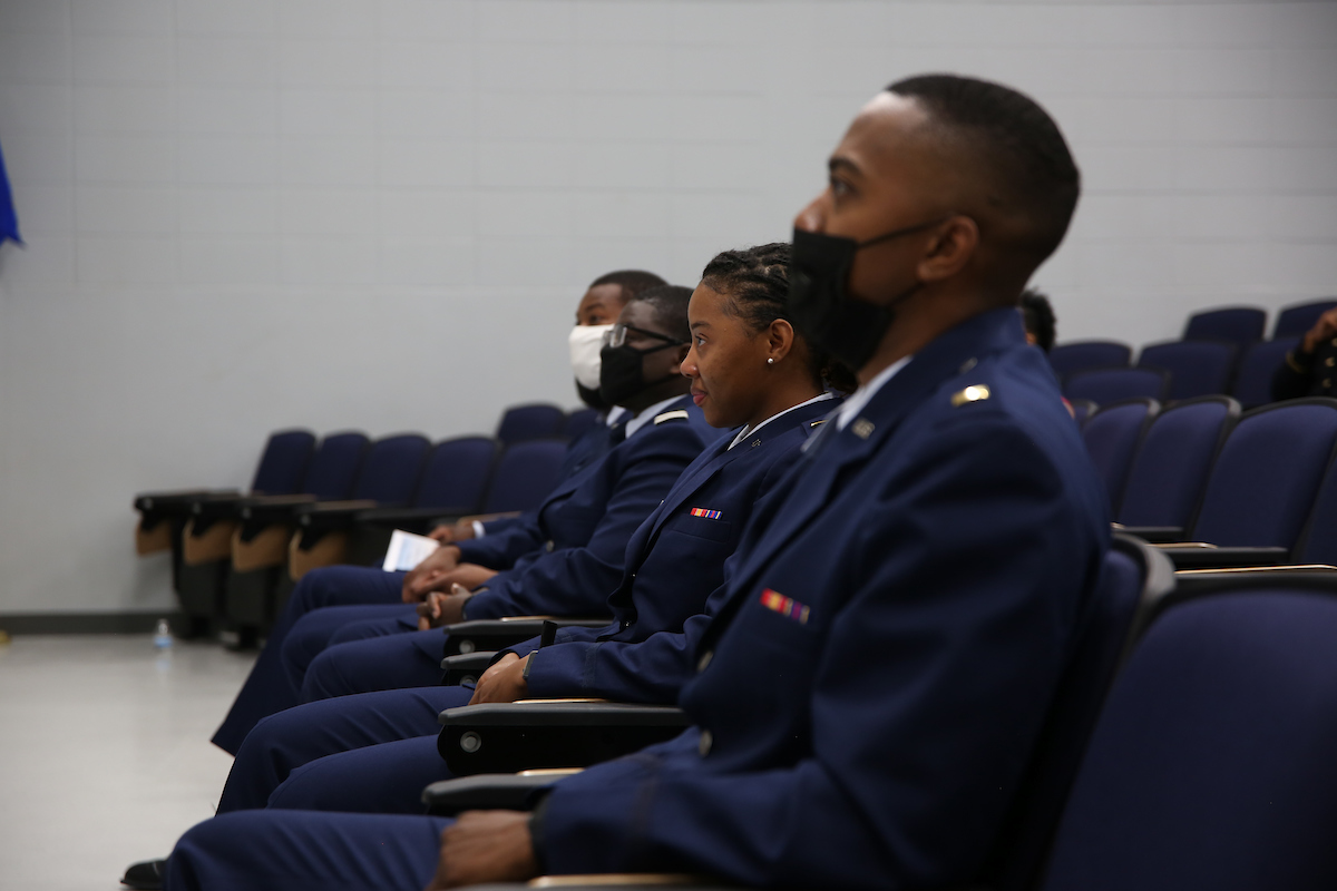 """Members of Air Force Detachment 007 listen to Toliver as she tells them to """"stand firm on the principles to support and defend the Constitution against foreign and domestic enemies."""" (Photo by Aron Smith/JSU)"""