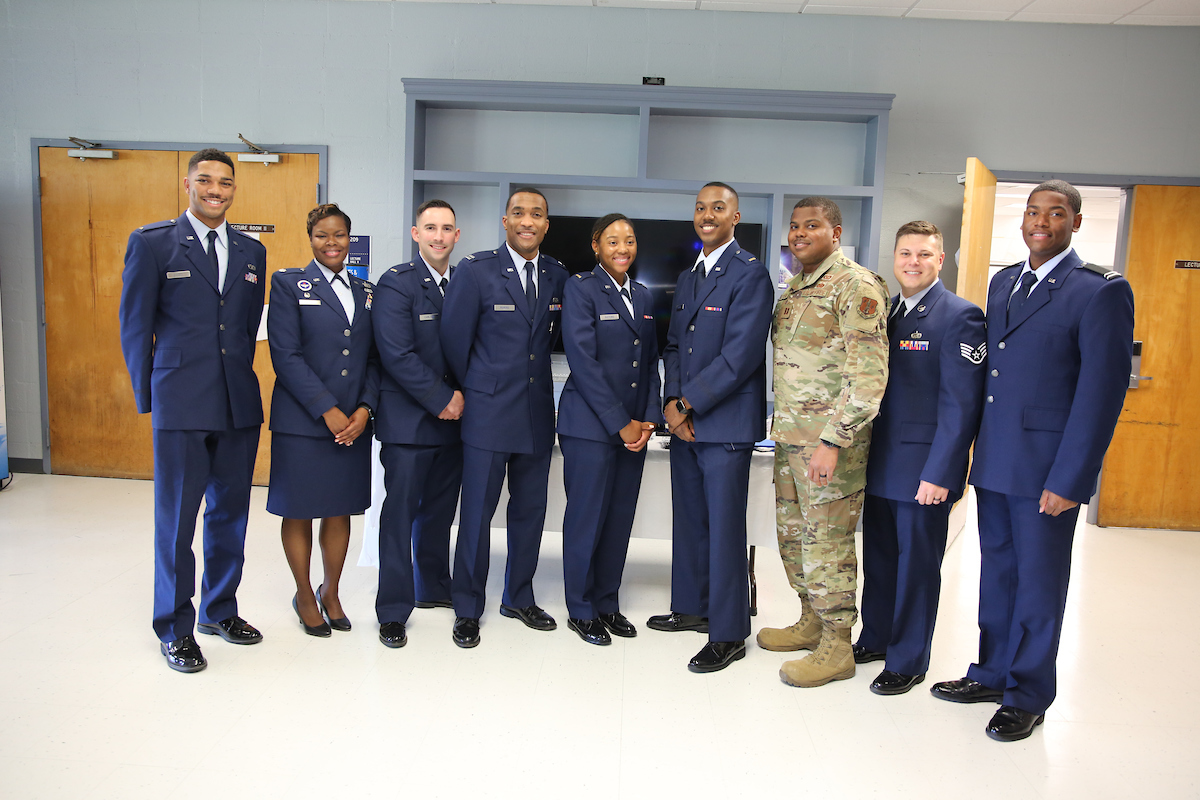 Members of Detachment 006 join in the celebration of their new fellow officers. (Photo by Aron Smith/JSU)