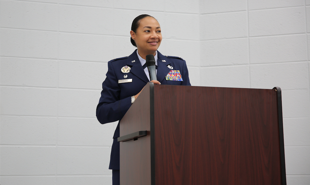 """Col. Shamekia N. Toliver is the commander of the 322nd Training Squadron, Joint Base San Antonio-Lackland AFB. As keynote speaker for the commissioning, she told honorees, """"Our nation needs you. We need your leadership, your skills and expertise."""""""