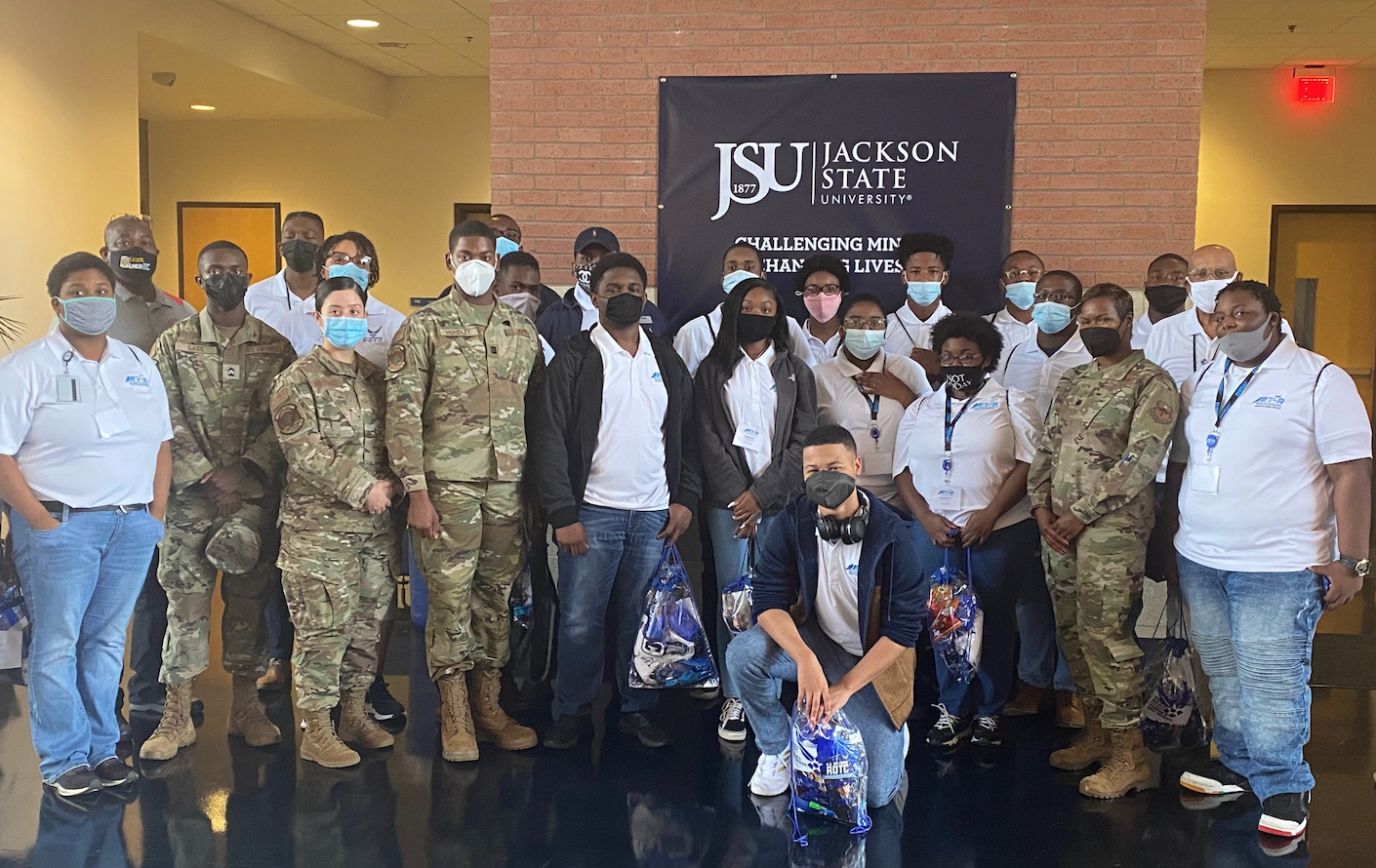Members of Jackson State University's Air Force ROTC partnered with the Jackson Municipal Airport Authority and Jackson Public Schools to introduce high school students to career opportunities in aviation and aerospace in the armed forces. (Photo courtesy of JSU Air Force ROTC)