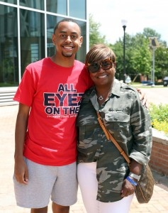 Harris Cole and his mother, Areda Cockrell-Harris were all smiles after receiving their health clearance. (Photo by William Kelly/JSU)