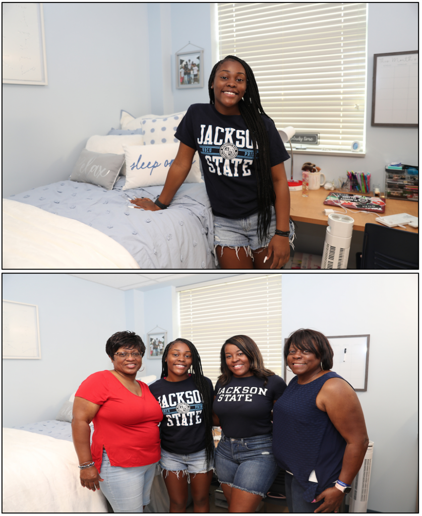 Joreyn Patterson, 18, of O'Fallon, Illinois, is a freshman political science major. She had strong support from her family as she moved into Stewart Hall. (Photos by William H. Kelly III/JSU)