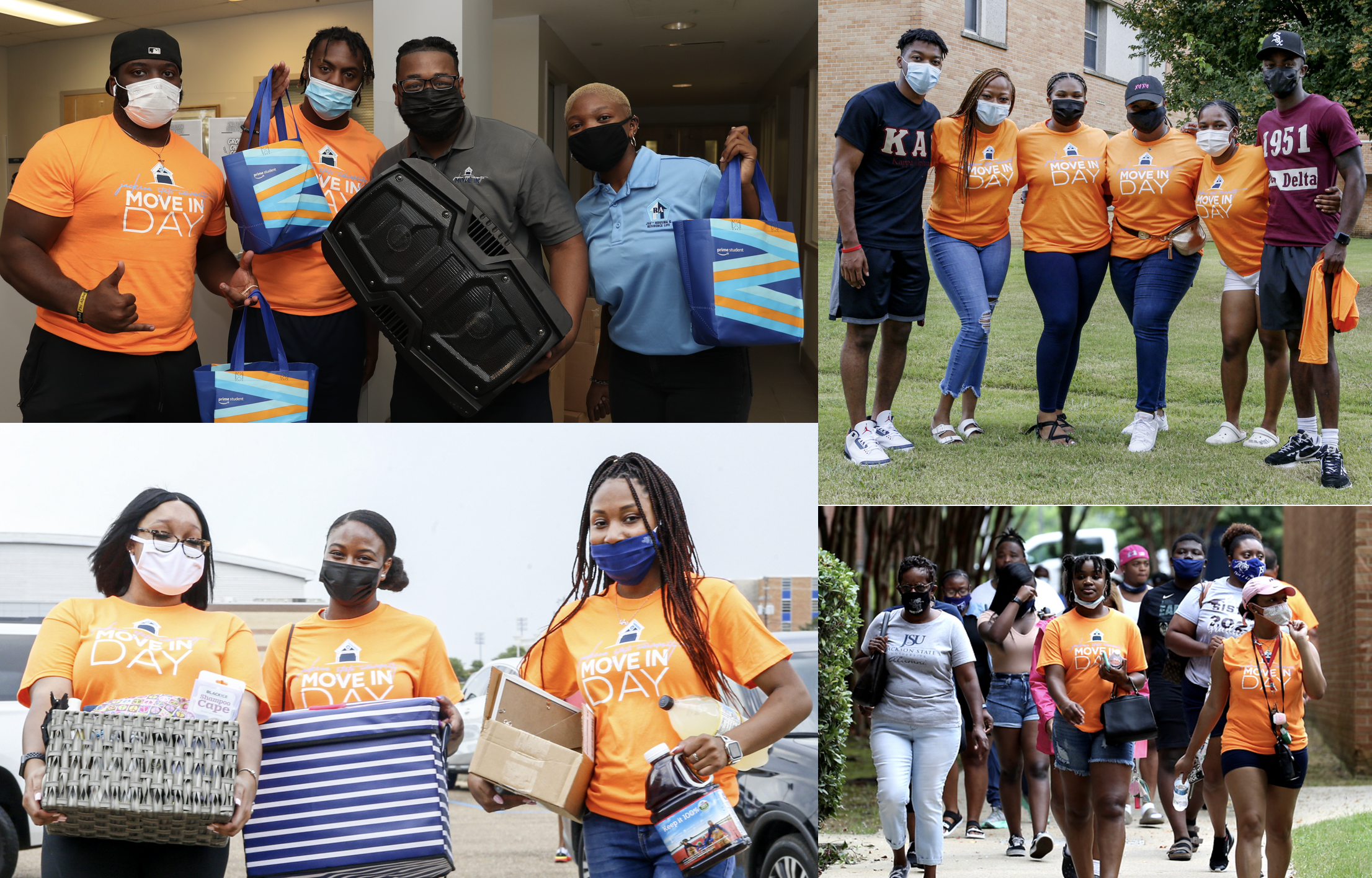 JSU Move-in Day volunteers could be easily identified by their bright, orange shirts. (Photos by Aaron Smith/JSU)