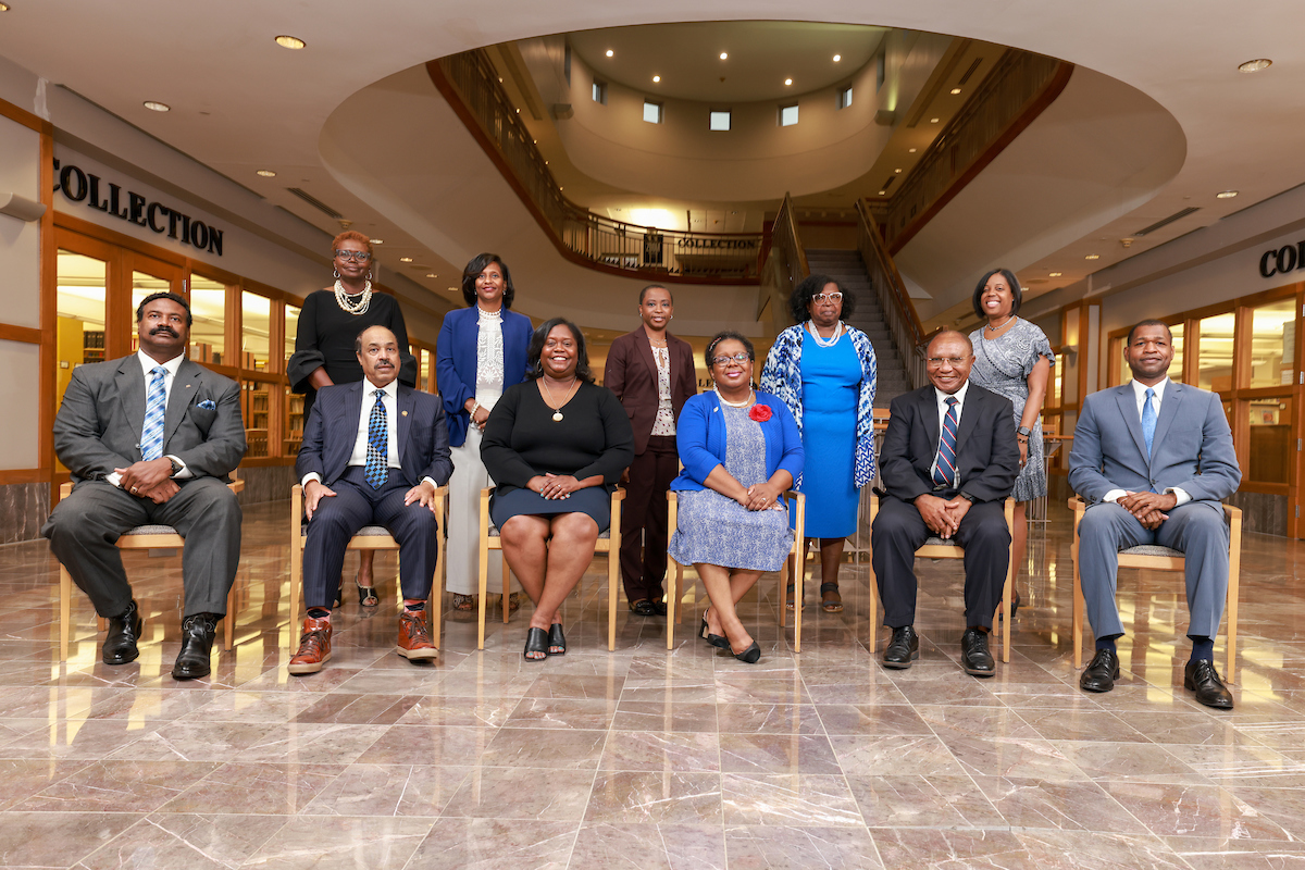 The Jackson State University academic deans (seated) and the JSU academic affairs council took the shot as a way to help protect the campus community.(Photo by Charles Smith/University Communications)